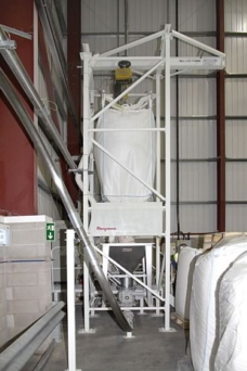 Atchison Topeka Transfers Powdered Foods from Bulk Bags to Tanker Trucks Dust Free