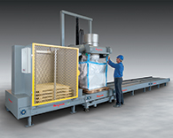 Ultra-Heavy-Duty Bulk Bag Filling System with Palletizer, Chain Conveyor for Mining Applications