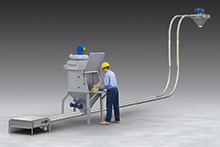 Bag Dump Station with Tubular Cable Conveyor