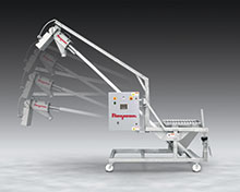 Sanitary Tilt-Down Flexible Screw Conveyor Cleans Rapidly, Rolls Through Doorways