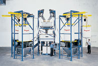 Gain-In-Weight Batching/Blending System with Bulk Bag Unloaders and Flexible Screw ConveyorsGain-In-Weight Batching/Blending System with Bulk Bag Unloaders and Flexible Screw Conveyors