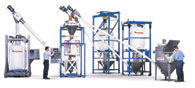 Weigh Batching/Blending System with Bag Dump Station, Bulk Bag Unloaders and Flexible Screw Conveyors