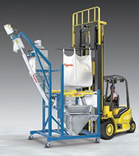 Mobile Half-Frame Bulk Bag Discharger has Manual Dump Station, Flexible Screw Conveyor