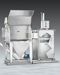 Bag Dump System has Integral Bag Compactor, Flexible Screw Conveyor